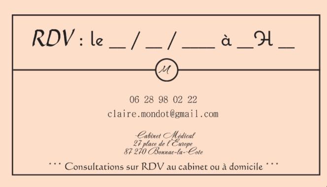 Carte De Visite Recto Claire Mondot Psychologue